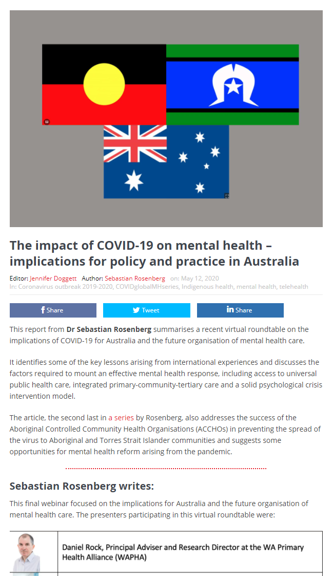 The Impact of COVID-19 on Mental Health